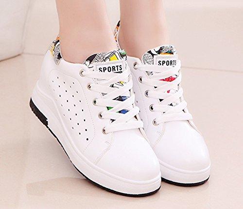 Atmungsaktiv Ladies Sneakers Up Hohl Freizeitschuhe Wedge Weiß Classics Laufen VECJUNIA Outdoor Plateau Lace Schwarz Y8dqpI