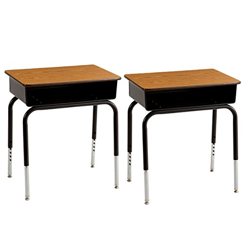 ECR4Kids 24'' x 18'' Adjustable Open Front Student Desk with Metal Book Box, Oak and Black (2-PacK) by ECR4Kids
