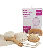 AHAHBABY- 4 Piece Baby Wooden Hairbrush and Comb Set – Perfect Baby Shower Gift - All Natural long lasting wood and Goat Hair Bristles Promotes Healthy Hair Growth, Recommended for Cradle Cap treatment and Provides a Soothing effect on Scalp.