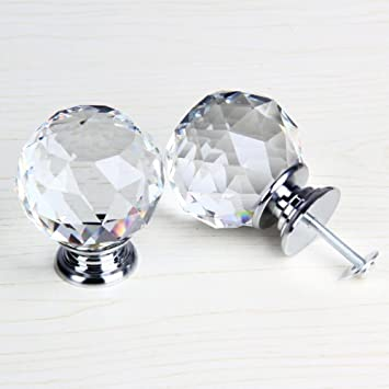 50mm clear crystal glass door knob cabinet cupboard pull drawer handle kitchen wardrobe home hardware come