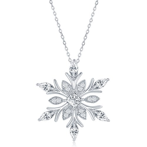 Beaux Bijoux Sterling Silver CZ Snowflake Pendant with 18