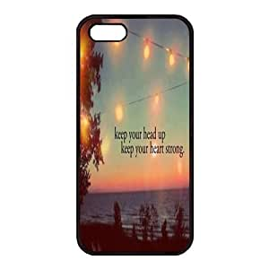 iPhone 5/5S Case,Fashion Durable Black Side Diy design for Apple iPhone 5/5S(4.0 inch),Rubber material iPhone 5/5S Cover ,Safeguard Phone from Damage ,Designed Specially Pattern from our Life with Keep your head up,Keep your heart Strong Quotes. by Maris's Diary