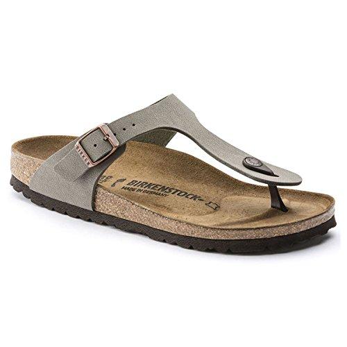 (Birkenstock Women's Gizeh Birko Flor Regular Fit Toe Post Sandal Stone-Stone-4.5)