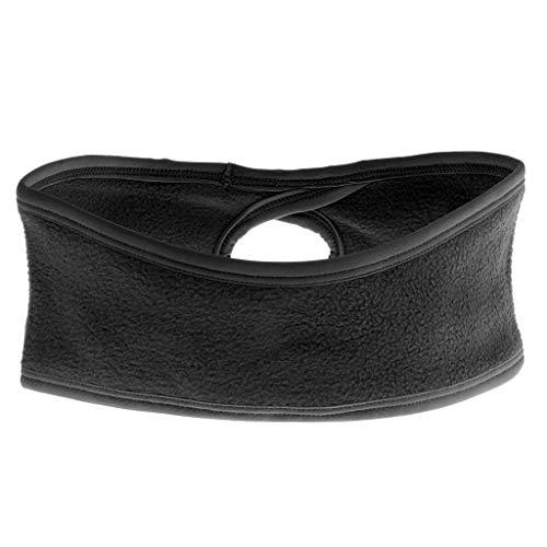 Woman Thermal Fleece Ponytail Headband Ear Warmer Sweat Head Band Hat Black