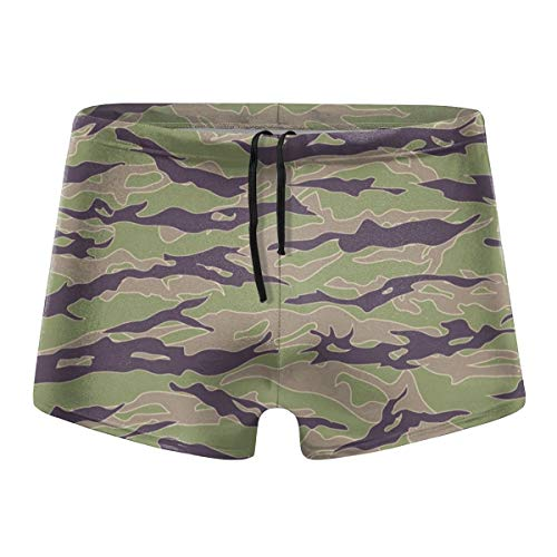 Men's Swimwear Tiger Stripe Camouflage Low Waist Boxer Shorts Swimsuits ()