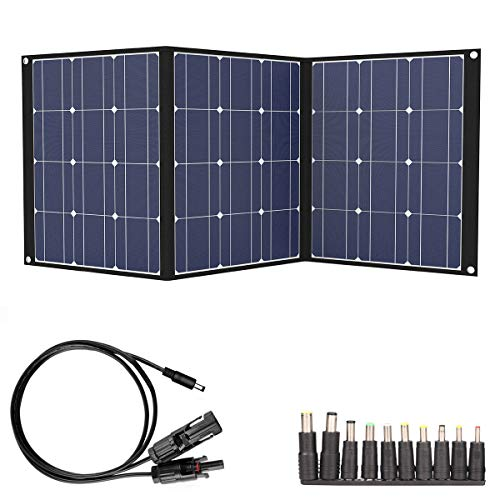 TISHI HERY 100W Portable Solar Charger 18V 12V Foldable Solar Panel for Portable Power Station/Jackery Explorer/Goal Zero Yeti/Webetop/ROCKPALS Generator,with MC4 Connector