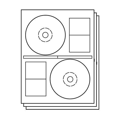 OfficeSmartLabels Stomper Pro Compatible DISC CD DVD Labels with Case Spine Labels for Laser & Inkjet Printers, 2 per sheet, White, Matte, 300 Labels, 150 Sheets