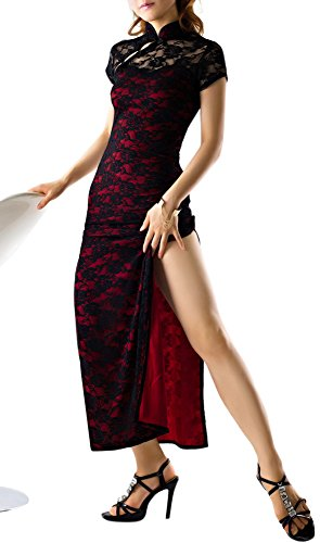 R-Style Transparent mandaring Gown With Underwear. Look Like Long Legs Because Slit (Red)]()