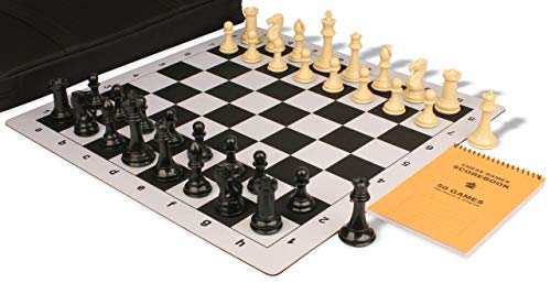 - Professional Jumbo-Floppy Chess Set Package Black & Camel Pieces - Black