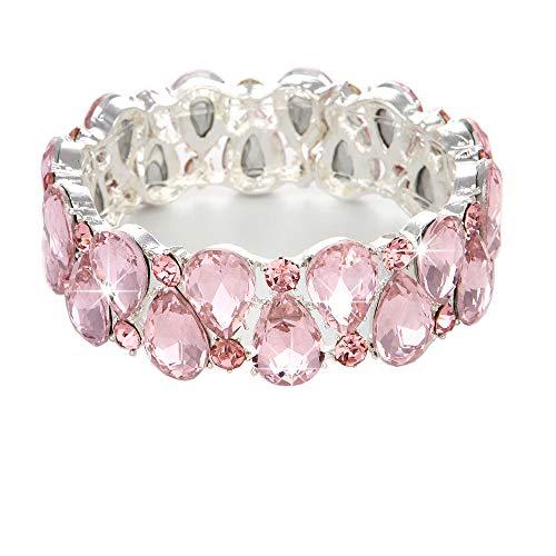 Youfir Bridal Austrian Crystal Teardrop Knot Elastic Stretch Bracelet for Brides Wedding Party - Bracelet Stretch Large Rhinestone