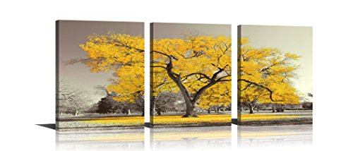 Youk-art Canvas Print Wall Art Painting Contemporary Yellow Tree In Black And White Style Fall Landscape Picture Modern Giclee Stretched And Framed Artwork (Size 16x36inch) Gift For Bathroom Bedroom (Wall And Gray Canvas Art Yellow)
