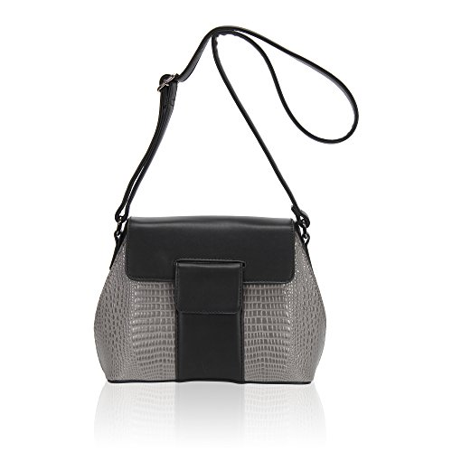 Hynes Victory Crocodile Saddle Pattern purse Women Deluxe Crossbody Bags Grey - Deluxe Synthetic Saddle