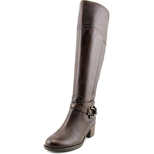 Marc Fisher Kacee Wide Calf Women Round Toe Leather Brown Knee High Boot Dk Brown dIuGnyRKTe
