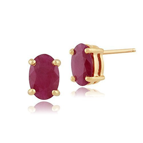 Gemondo Rubis Clous, 9ct Or Jaune 1.13ct Rubis Pierre Unique Boucles D'oreilles Ovales Clous 6x4mm