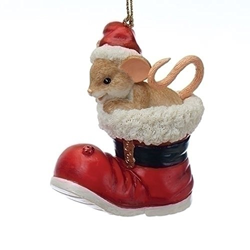 Charming Tails 130449 Mouse Santa Boot Ornament 25 Anniversary 2017