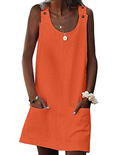 Asvivid Womens Shift Dress Crew Neck Sleeveless Summer Button Cami Casual Short Mini Dress Ladies Sundress S Orange