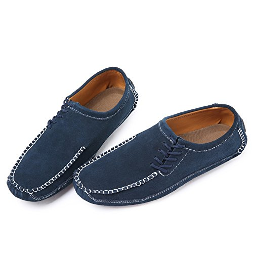 Men's Tinta Unita on Piatto a Slip Cricket Blu da Tinta Unita Spillo Scarpe Driving Tacco Shoes Vamp Loafer rgqCYRwr