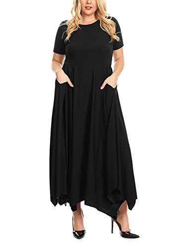 Baci T-shirt (Itsmode Woman Spring Bacis Pluse Size Short Sleeve Maxi Dresses Long T-Shirt Dress With Pockets Black XL)