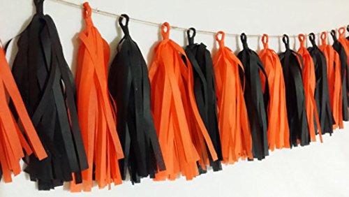 SUNBEAUTY 20PCS Black Orange Tissue Paper Tassel Garland