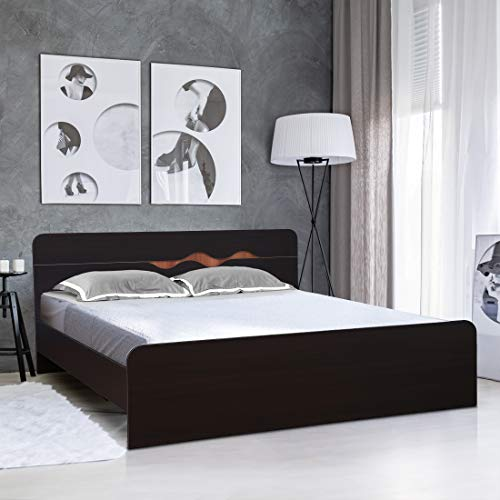 HomeTown Swirl Engineered Wood Queen Size Bed in Denver Oak,Urban Teak Colour
