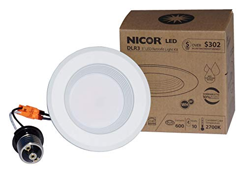 NICOR Lighting 3-Inch Dimmable 2700K LED Retrofit Downlight for 3-Inch Recessed Housings, White Baffle (DLR3-10-120-2K-WH-BF)