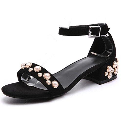 Comfity Femmes Perle Chaussures Bande Unique Bloc Talons Cheville Sangle Robe Sandales Noir