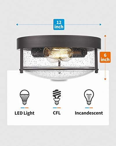 FEMILA Flush Mount Lighting Fixture, 12inch 2-Light Metal Ceiling Light Fixtures, Oil Rubbed Bronze Finish with Seeded Glass, 4FTJ22-F ORB