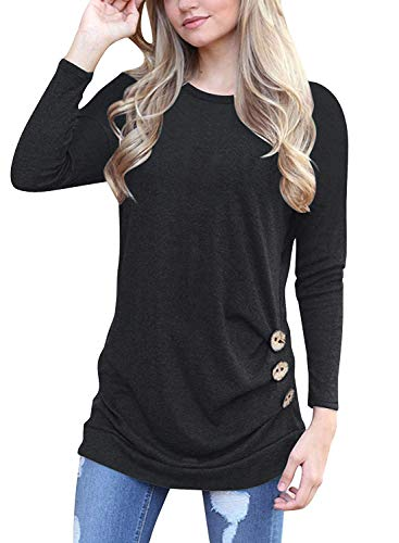 Muhadrs Womens Long Sleeve Casual Round Neck Loose Tunic Top Blouse T-Shirt Black M (Best Tops To Go With Leggings)