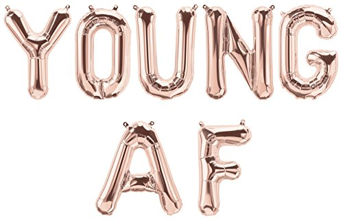 YOUNG AF Balloon Letters for Adult Birthday Party Decorations