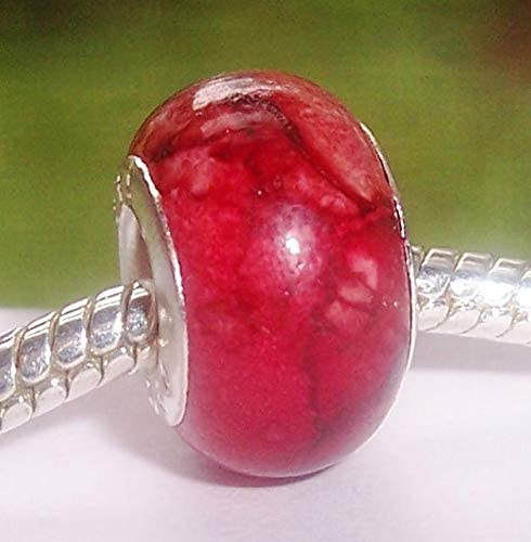 Red Brown Watercolor Acrylic Large Hole Bead for Silver European Charm Bracelets