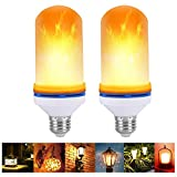 VIPMOON 2 Pack LED Flame Effect Light Bulb, E27 Standard Base Flickering Flame Lamp Fire Effect Upside Down Decorative Lights, Vintage Simulation Flames Bar,Holiday Decorations,for House Lighting