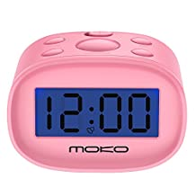 Digital Alarm Clock, MoKo High Accuracy Mini LCD Display Kids Clock Night Light Travel Bedside Alarm Clocks with Snooze Time Backlight Electronic Home Office Table Clock - PINK
