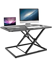 Standing Desk Height Adjustable, Ohuhu 31.3inch Stand up Desk Converter Fully Assembled Gas Spring Riser Sit to Stand Tabletop Desk, Perfect for Laptop & Computer Monitors