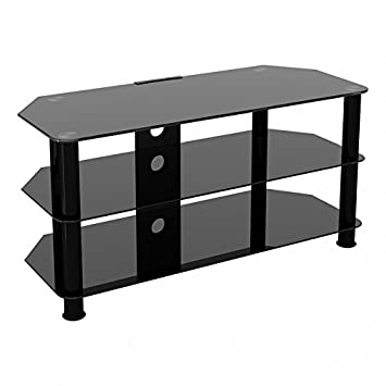 King Universal Black Glass Tv Stand 100cm Suitable Up To 50 Inch