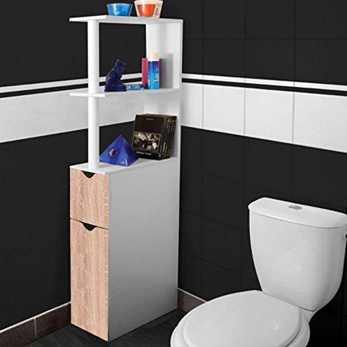 Probache - Meuble Wc Étagère Bois Gain De Place Pour Toilette 2