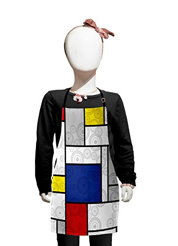 Lunarable Retro Kids Apron, Mondrian Inspired Composition