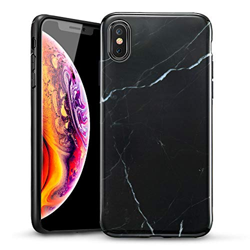 ESR Marble Slim Soft Case for iPhone Xs Max, Flexible TPU Marble Pattern Cover for Apple iPhone 6.5 inch (2018 Release) (Black Sierra)