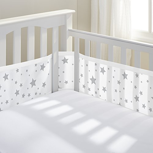 BreathableBaby Mesh Crib Liner, Starlight White and Gray (Starlight)