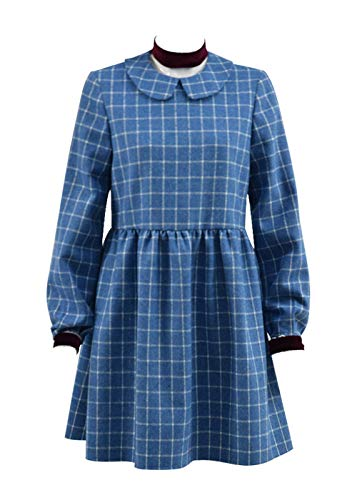 Very Last Shop Girls Halloween Costume Horror Movie Esther Orphan Costume Blue Plaid Dress (Blue, 8) -