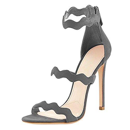 Damen Open Toe Welle Sandalen High-Heels Stiletto Fellsamt Reißverschluss Grau
