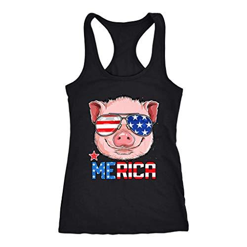 - Pig Merica 4Th of July Girls American Flag USA Racerback Tank - Racerback Tank Pig Merica Gifts (XX-Large) Black