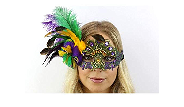 Mardi Gras Silver//OrangeFeather Masquerade Mask  Fancy Dress Party Ball
