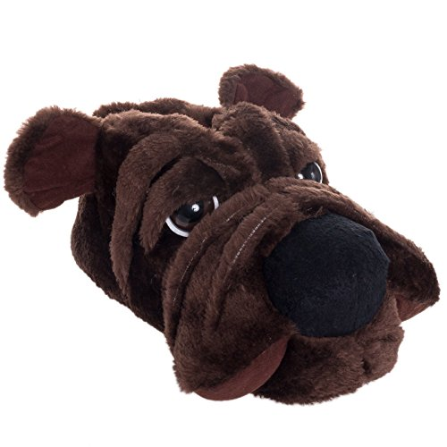 [Silver Lilly Dog Plush Animal Slippers (Dark Brown, M)] (Youre Next Costume)