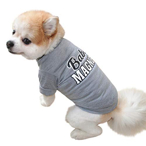 (Shybuy Summer Apparel Pupp Dog Hug me kiss me Love me Candy Heart Stripe Dog Shirt pet Clothes (XS, Gray))