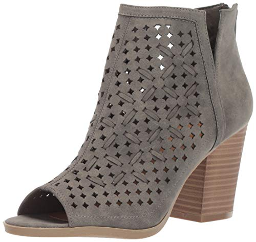 Sugar Women's Vael Open Toe Block Heel Fashion Ankle Bootie with Perf and Woven Details Boot, Grey Tonal, 9.5 M - Boots Ankle Detail