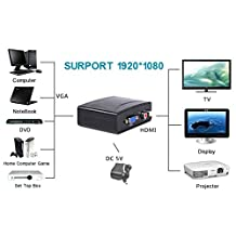 1080P Audio VGA to High Definition Multimedia Interface HD HDTV Video Adapter Converter Box for PC HDTV (UK/EU Plug)