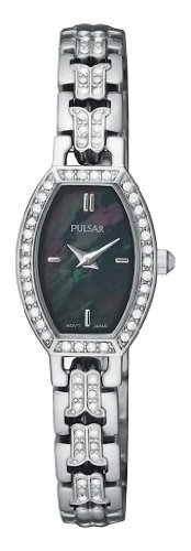 Pulsar Women's PEGC95 Crystal Accented Dress Silver-Tone Black Mother of Pearl Dial Watch
