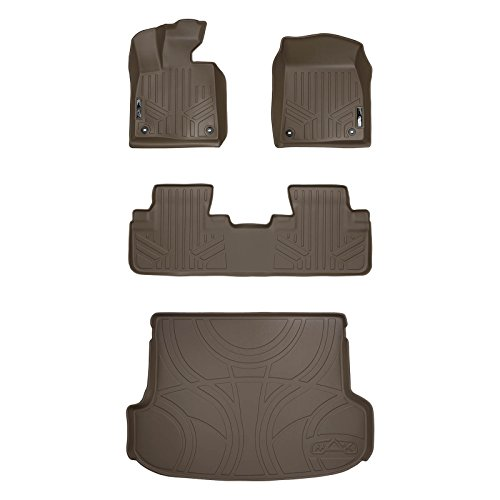 SMARTLINER Custom Fit Floor Mats 2 Rows and Cargo Liner Behind 2nd Row Set Tan for 2016-2019 Lexus RX (No RXL Models)