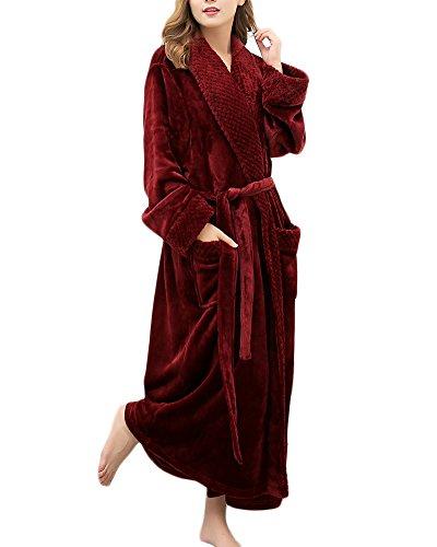 Accappatoio Notte Donna Unisex Vestaglia Scollo Sauna Camicia Wine con Veste Rosso V Caldo Cintura a 5wxRXHq