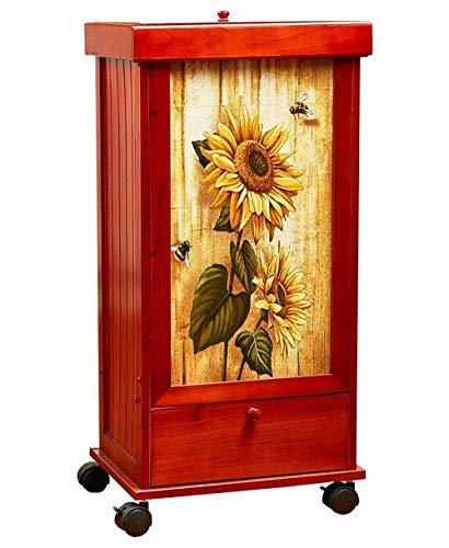 Vanda6549 Trash Country Sunflower Can Bin Rolling Wood Garbage Storage & Lid Primitive